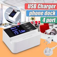 4 Port USB Hub Desktop Smart Wall Charger Smart LCD Display Charging Station