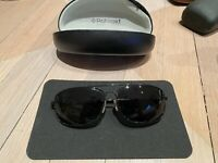 Suncloud By Polaroid Aviator Navigator Polarized Black On black Sunglasses E O