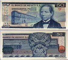 MEXIQUE billet neuf de 50 PESOS Pick73 TEMPLE  Urne AZTEC  B. JUAREZ 1981