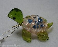 w GLASS FIGURINE turtle blown art glitter CORAL PINK BLUE animal handmade ganz