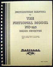 National NC-125 NC125 Radio Receiver Manual