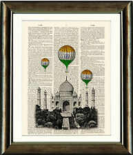 Antique Book page Art Print - The Taj Mahal and Air Balloons India