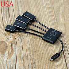 Dual Micro USB Host OTG Hub Adapter Cable For Samsung Galaxy S3 S4 S5 Note 2 3 4