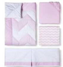 CIRCO 4 piece Crib Bedding Set PINK Chevron  Girls Zigs N Zags