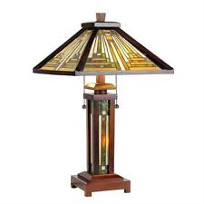 "Stained Glass Chloe Lighting Mission 3 Light Wood Double Lit Table Lamp 15"" Wide"