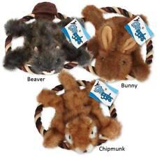 Fuzzy Fur Flyer Dog Toys Plush & Rope Fetch Toy Choose Bunny Beaver or Chipmunk
