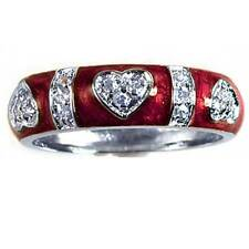 DESIGNER REPLICA_PAVE' CZ HEART_RED ENAMEL RING_SZ-9 __925 Sterling Silver_NF