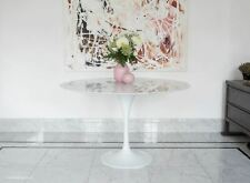 120cm Circular White Carrara Marble Tulip Dining Table designed by Eero Saarinen