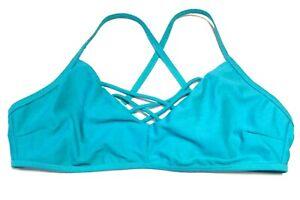 NEW WOMEN'S MEDIUM EXPRESS SWIM TOP Teal Swimsuit Bikini Swim Suit Top