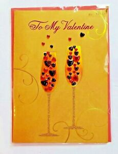 Beautiful Papyrus Valentine's Day Card Romantic Champagne Glasses NEW