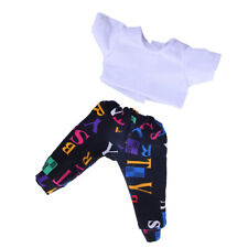 White Crop Top + Letter Print Pants for 14 inch AG American Doll Dolls Clothes