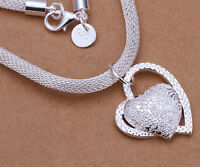 Women FASHION Double Heart Charm Pendant Silver chain Necklace Girl Jewelry Gift
