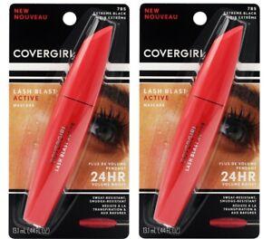2 x COVERGIRL 13.1mL MASCARA LASH BLAST ACTIVE 785 EXTREME BLACK Brand New