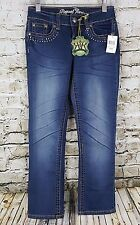 Request Jeans Women's Size 0 24 Embellished Beaded Pockets Blue Denim Sandblast