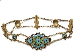 Antique Victorian Art Nouveau gilt metal enamel flowers tortoise buckle belt.