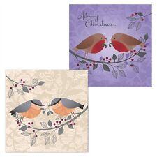 Gps luxe cartes de noël-robin & bouvreuil dentelle oiseaux (10 cartes)