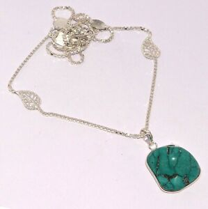 """TURQUOISE 925 SILVER PLATED CHAIN SET 1.4/22"""", S-931"""