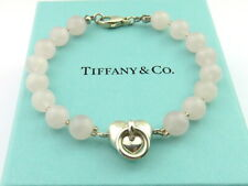 TIFFANY & CO Sterling Silver Heart Door Pink Quartz Bracelet