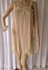 VINTAGE 1930's ART DECO SHORT SILK & LACE NIGHTDRESS CHEMISE...S/M