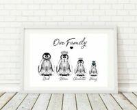 Personalised Family Prints penguin Gift present christmas birthday mum dad xmas