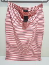 PAPAYA Size 12 White Red Stretch Striped Elasticated Pencil Summer Knee Skirt