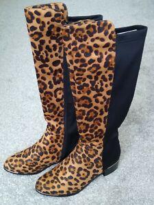 BEAUTIFUL LADIES LEOPARD ANIMAL PRINT KNEE BOOTS UK 6/EU 39 BY LUNAR ~ BNIB!