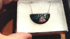 Lovely  enameled pendant OOAK on Sterling Silver chain, FREE Shipping