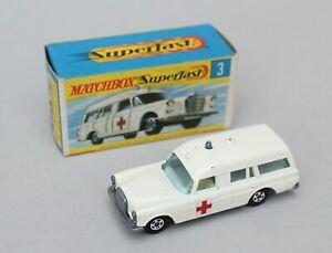 Matchbox Lesney Superfast MB 3 Mercedes Benz Binz Ambulance - Solid NW
