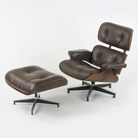 C. 1961 Herman Miller Eames Lounge Chair and Ottoman 670 and 671 Brown Leather