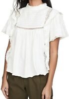 Free People Women's Blouse White Size XS Ruffled Mock-Neck Lace-Inset $42- #205