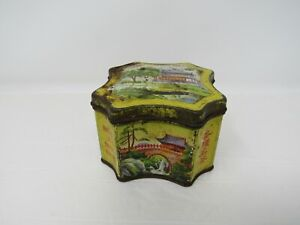 YING MEE Co  HONG KONG TEA CANISTER TIN Pagoda Scenes Vintage Collectible
