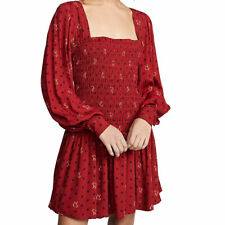 People Two Faces Mini Dress Floral Smocked Long Billowy Sleeves Red XS