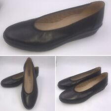 Gabor Comfort Black Leather Wedge Pumps Shoes Size 5 38 G Fit Womens