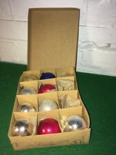 VINTAGE BOX OF TEN CHRISTMAS BALLS FROM JAPAN IN ORIGINAL BOX MERCURY GLASS OLD!