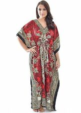 New  Gorgeous Red Long  Kaftan Boho Hippy Plus Size Women Long Caftan Dress Maxi