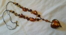 Murano Style Glass Bead necklace Gold Bronze Tone heart