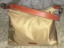 DOONEY & BOURKE Large Khaki Nylon Tan Leather Sac Hobo Handbag Purse Bag-NICE