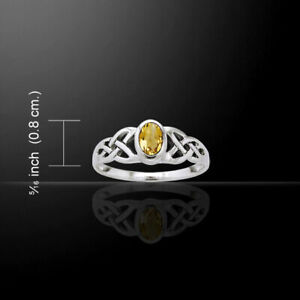 Celtic Knot Birthstone Ring Citrine .925 Sterling Silver Peter Stone Jewelry