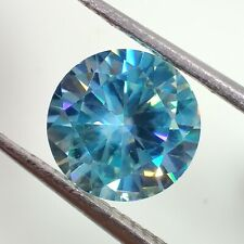 Brilliant Cut Loose Moissanite 4 Ring 2.03 Ct 8.65x4.78mm Si1 Peacock Blue Round