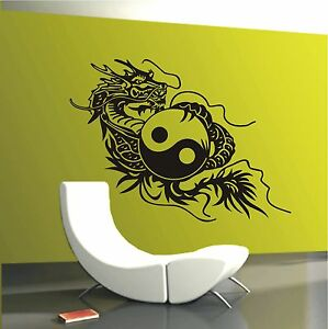 WANDTATTOO Drache Yin Yang China Japan Asia Wohnzimmer Flur Wandaufkleber HT 304