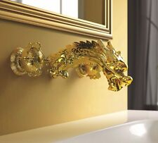 Gold dragon Design 3 hole widespread bathroom Lavatory sink Faucet wall mounted