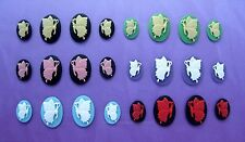 12 White BUTTERFLY on Bubblegum PINK L /& R Facing 6 pairs 25mm x 18mm CAMEOS Lot