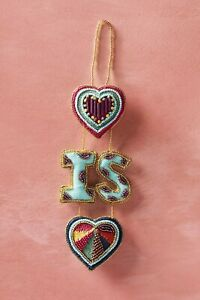 NWT Anthropologie Love is Love Beaded Ornament Valentines Gift