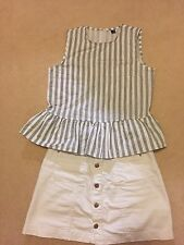 South Store White Striped Peplum Top Size 8 Great Condition
