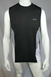 Mens Tall Man Active Colour Block Panel Vest Black Size L xL 2XL MTJul24-7