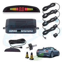 4 Parking Sensor Car Auto Reverse Backup Rear Radar System LED Sound Alert Alarm