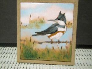 Art Tile Artist Signed JD Bird tile set on Soft Suede