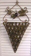 Vintage Metal Pocket Planter Wall Hanging Basket Grape Leaves Cluster of Grapes