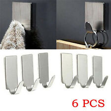 6PCS Lots Adhesive Kitchen Wall Door Stainless Steel Stick Holder Hook Hanger