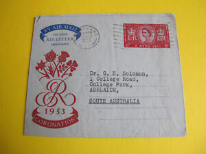 GB 1953 Coronation Aerogramme to South Australia